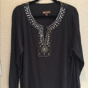 Dana Buckman Black Tunic top Front embellishments